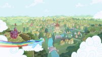 Rainbow Dash zooming over Ponyville S1 Opening