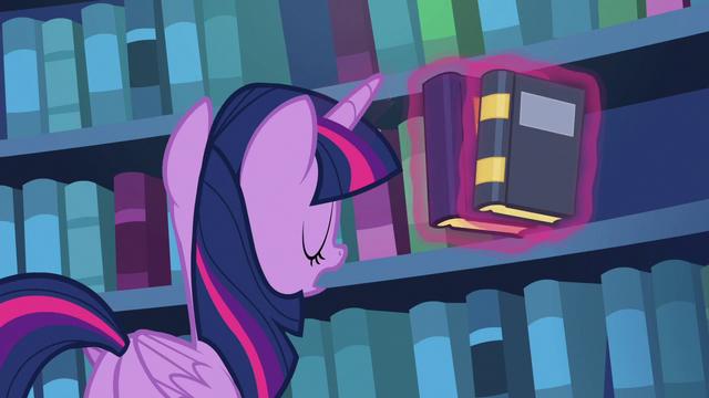 File:Twilight Sparkle shelving her books S6E19.png
