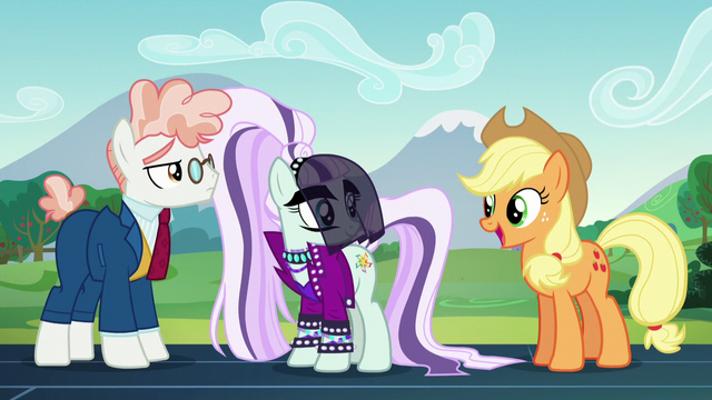 "File:AJ ""The schoolponies'll be so happy to hear that, Rara!"" S5E24.png"