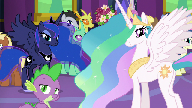 File:Celestia, Luna, and Spike looking at Twilight S7E1.png
