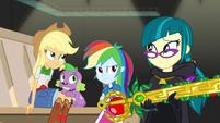 Applejack and Rainbow Dash glare at Juniper EGS2