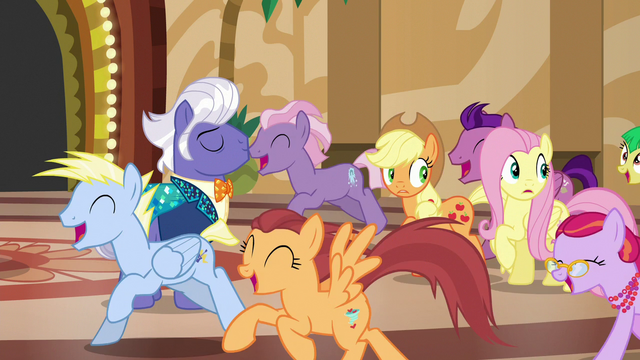File:Ponies gallop past AJ, Fluttershy, and Gladmane S6E20.png