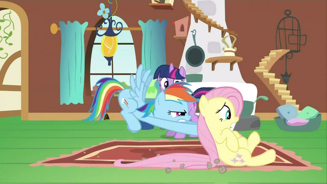 File:Rainbow Dash pushing Fluttershy S2E21.png