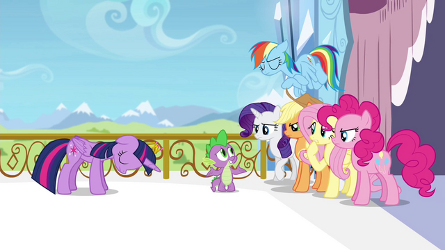 File:Twilight's friends angry at Spike S4E25.png