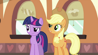 Twilight and Applejack curious about Pinkie Pie S2E24