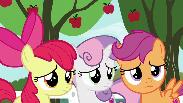 File:Cutie Mark Crusaders watch Gabby leave S6E19.png