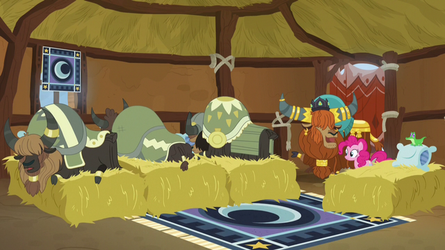 File:Pinkie, Rutherford, and yaks in yak sleeping hut S7E11.png