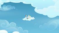 Rainbow and Vapor sitting on a cloud S6E24