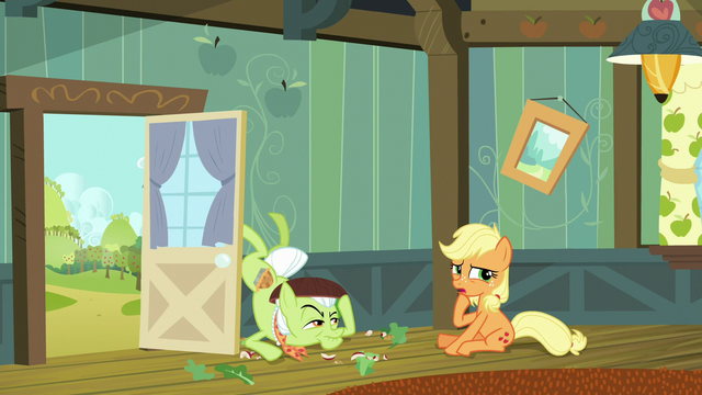 "File:Young Applejack ""I didn't see ya there"" S6E23.png"
