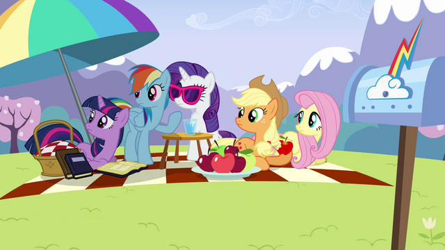 File:Main ponies looking at Pinkie offscreen S3E7.png