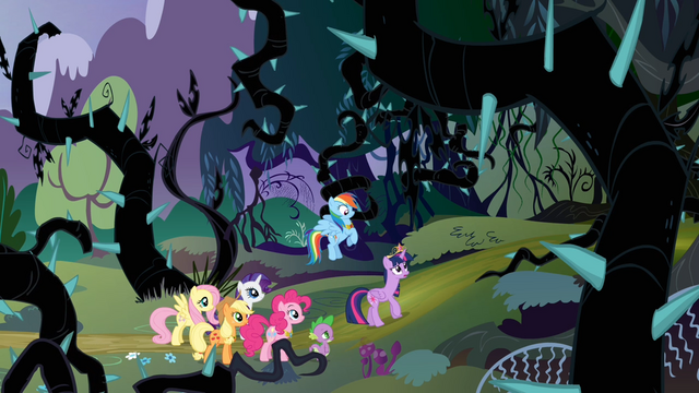 File:Twilight's friends watching Twilight walking towards the Everfree Forest S4E02.png