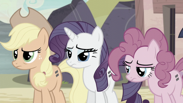 File:Applejack, Rarity, and Pinkie keeping silent S5E2.png