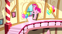 Pinkie Pie racing down stairs S4E12