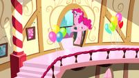Pinkie Pie racing down stairs S4E12