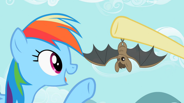 File:Rainbow Dash pointing at the bat S2E07.png