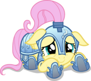 FANMADE cowering knight Fluttershy by dharthez
