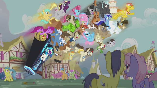 File:Ponies go flying from the DJ station S5E9.png