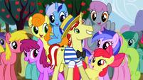 Ponies surrounding Flim S2E15