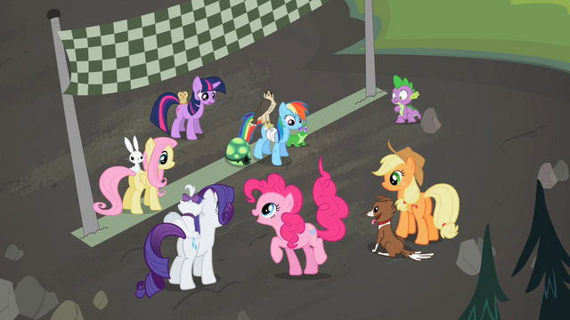 File:Main ponies at the finish line S02E07.png