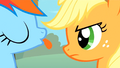 Rainbow Dash blowing a raspberry at Applejack S1E13.png