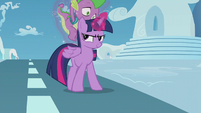 Twilight putting Spike on her back S5E25