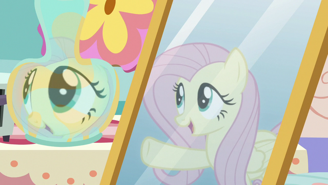 "File:Fluttershy's reflection ""this is where Discord lives!"" S7E12.png"