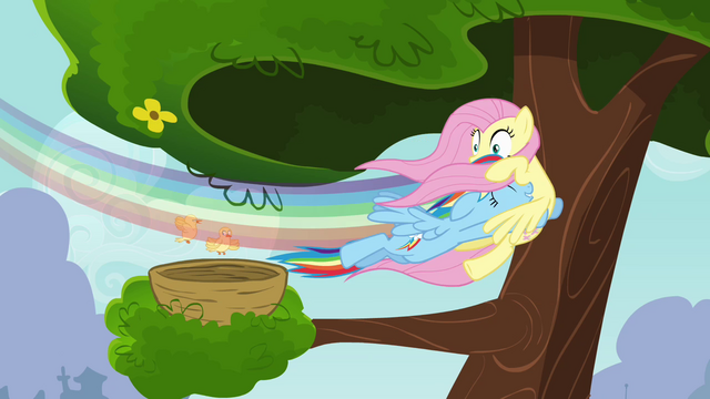 File:Rainbow Dash swooping into Fluttershy S4E04.png