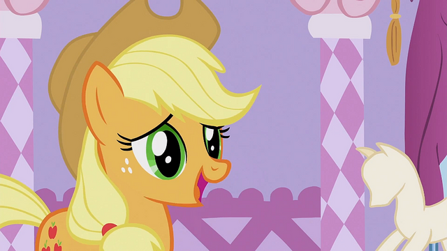File:Applejack 'I was just gonna wear my old work duds' S1E14.png