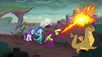 Fume shooting his dragon breath S7E1
