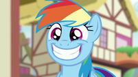 Rainbow Dash giving a very wide grin S6E7