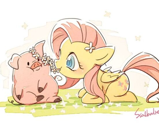 File:FANMADE Fluttershy and Waddles by ssalbulre.jpg