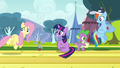 Fluttershy about to pass anemometer S2E22.png