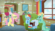 Fluttershy and her parents return from the next room S6E11