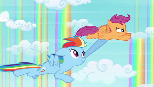 File:Rainbow Dash and Scootaloo flying together S3E06.png