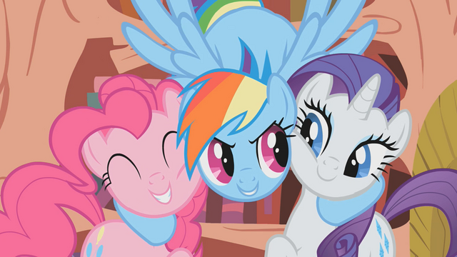 File:Rainbow Dash hugs Pinkie Pie and Rarity S1E07.png