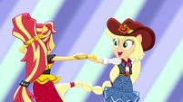 Sunset and Applejack dancing together EGS1