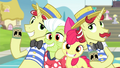 Apple Bloom, Granny, Flim, and Flam smiling S4E20.png