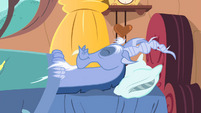 Discord lying down on bed S4E11