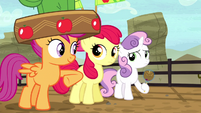 Scootaloo nudges Apple Bloom S5E6