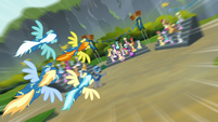 The Wonderbolts fly toward the crowd S6E7