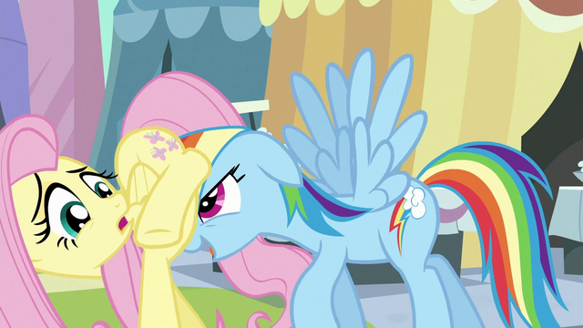 File:Rainbow Dash moving Fluttershy along S3E2.png