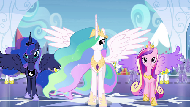 File:Celestia, Luna, and Cadance stepping forward S4E25.png