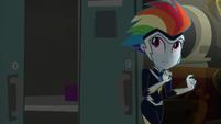 Rainbow Dash tiptoes into the storage room EGS2