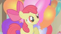 Apple Bloom hiding behind balloons S1E12