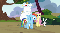 Rainbow speaking to Fluttershy and Bulk Biceps S4E10