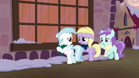 Cloudy, Dinky, and Liza looking sad S6E8