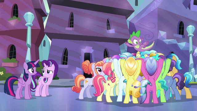File:Crystal Ponies cheering for Spike S6E16.png