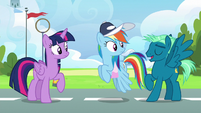 Sky Stinger lands next to Rainbow and Twilight S6E24
