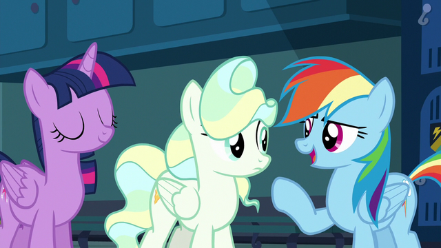 "File:Rainbow Dash ""he should practice with Twilight"" S6E24.png"