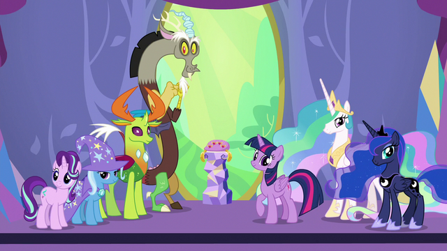 File:Twilight, Discord, and friends looking at ceremony crowd S7E1.png
